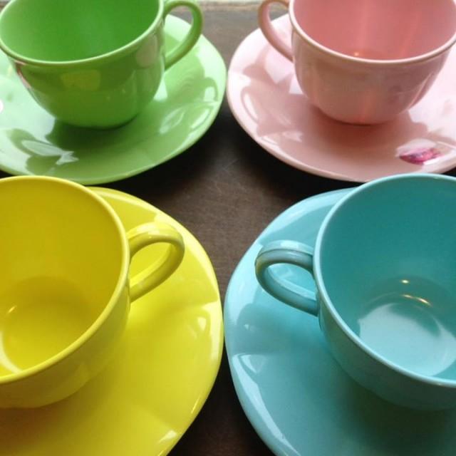 riceメラミンカップ&ソーサー☕️☕️☕️✨キュートな4色パステルカラー登場😚💕