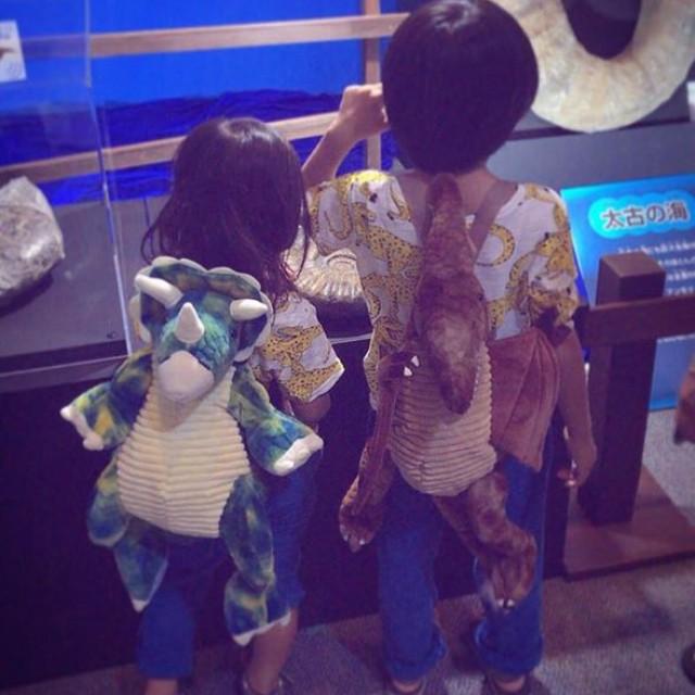 兄弟で恐竜背負って恐竜展へ行くめっちゃ可愛い画像頂きました😆😆🙏🏻🙏🏻💕💕💕