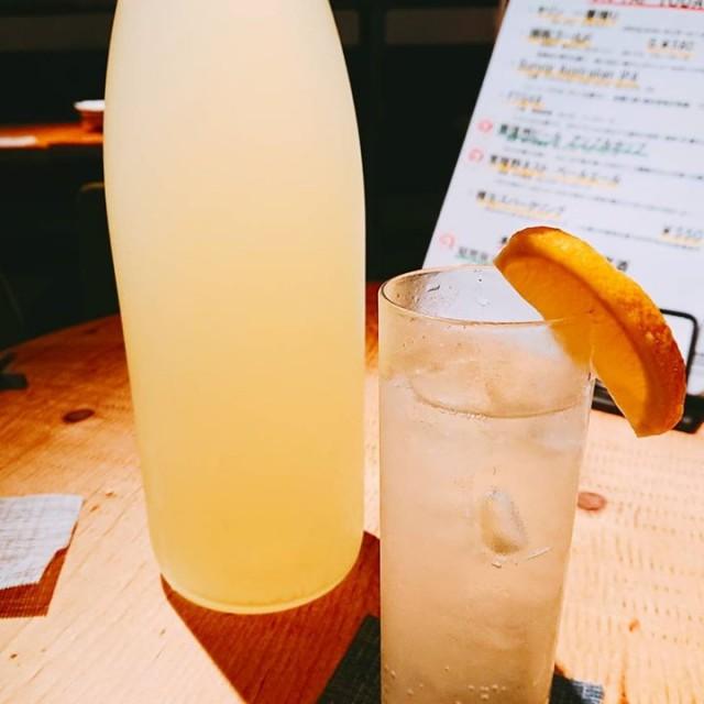 「自家製レモン酒!」
